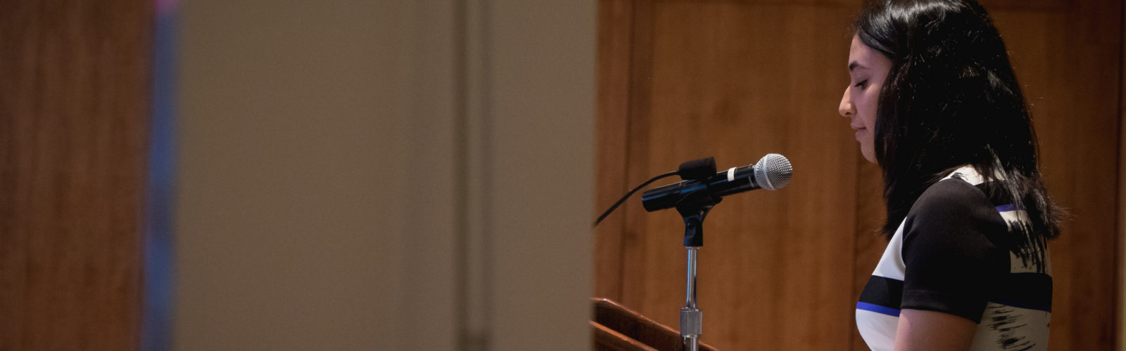 A student speaks at the Phi Beta Kappa induction ceremony.
