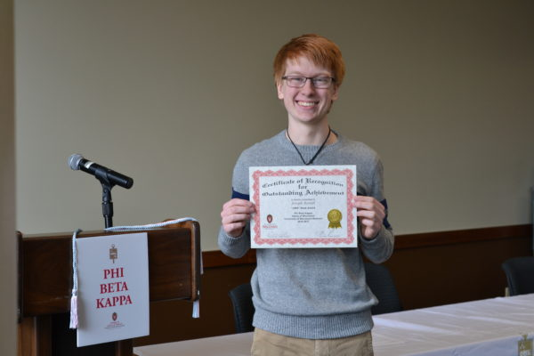 Joseph Reindl receives the 2017 1899 PBK High School Book Award.